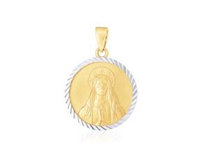 14k Two Tone Gold Round Textured Religious Medal Pendant