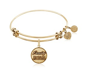 Expandable Yellow Tone Brass Bangle with Family Where Life Begins Symbol