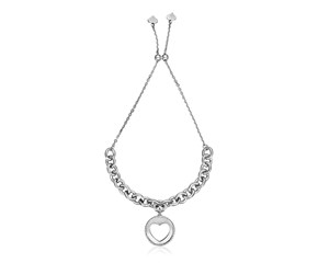 Sterling Silver 9 1/4 inch Adjustable Bracelet with Chain and Heart Charm