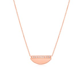 14K Rose Gold Half Moon Necklace with Diamonds