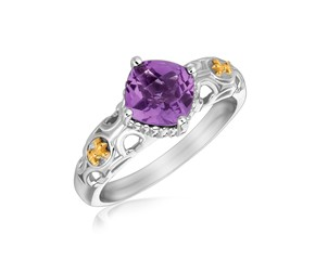 Square Amethyst Ring with Fleur De Lis Design in 18k Yellow Gold and Sterling Silver