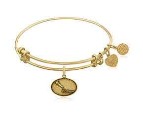 Expandable Yellow Tone Brass Bangle with Singer Symbol