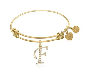 Expandable Yellow Tone Brass Bangle with F Symbol with Cubic Zirconia