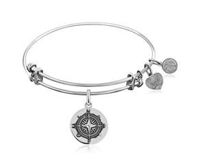 Expandable White Tone Brass Bangle with Black Enamel North Star Symbol