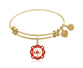 Expandable Yellow Tone Brass Bangle with Red Enamel Fire Fighter Symbol