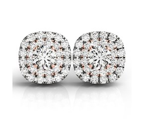 Cushion Shape Halo Diamond Earrings in 14k White and Rose Gold (3/4 cttw)