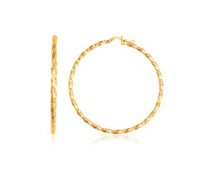 Slender Patterned Twist Hoop Earring in 14k Yellow Gold