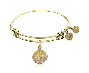 Expandable Yellow Tone Brass Bangle with Shell Symbol with Cubic Zirconia