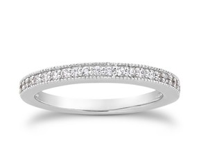 Pave Diamond Milgrain Wedding Ring Band in 14k White Gold