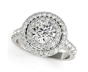 Double Pave Border Round Cut Diamond Engagement Ring in 14k White Gold (2 5/8 cttw)