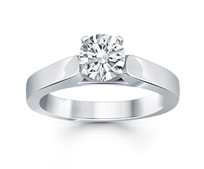 Wide Cathedral Solitaire Engagement Ring Mounting in 14k White Gold