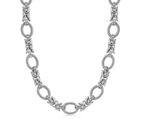 Knot Design and Textured Oval Rhodium Plated Necklace in Sterling Silver