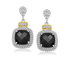 Cushion Black Onyx and Diamond Drop Earrings in 18k Yellow Gold and Sterling Silver (.05cttw)