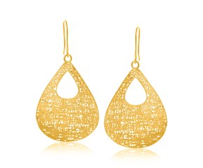 Open Teardrop Motif Mesh Dangling Earrings in 14k Yellow Gold