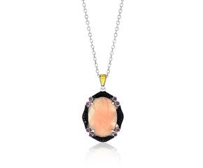 Framed Oval Pendant with Rose Quartz,  Rhodolite,  and Black Diamonds in 18k Yellow Gold and Sterling Silver