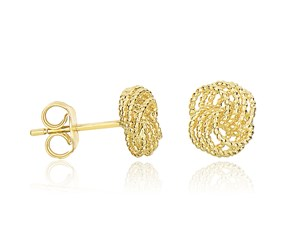 Textured Knotted Design Post Earrings in 14k Yellow Gold