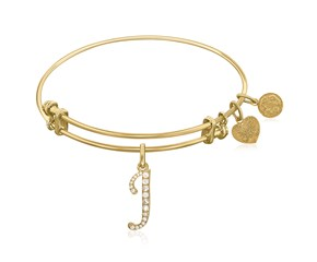 Expandable Yellow Tone Brass Bangle with J Symbol with Cubic Zirconia