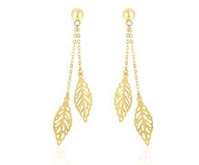 Double Row Filigree Leaf Dangling Earrings in 14k Yellow Gold