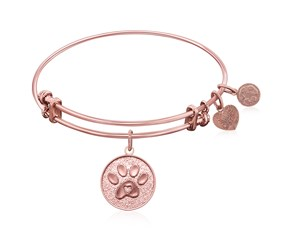 Expandable Pink Tone Brass Bangle with Paw Symbol