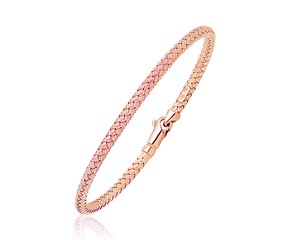 Woven Style Bangle in 14k Rose Gold