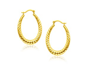 Textured Oval Shape Hoop Earrings in 14k Yellow Gold