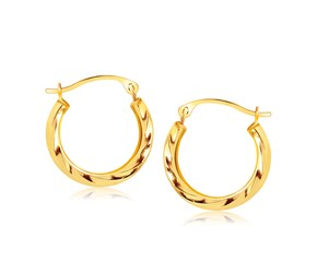 Textured Polished Round Hoop Earrings in 10k Yellow Gold (5/8 inch Diameter)