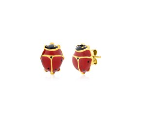 14K Yellow Gold Lady Bug Earrings