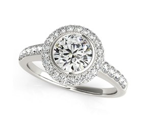 Pave Round Diamond Engagement Ring with Band Stones in 14k White Gold (1 3/8 cttw)