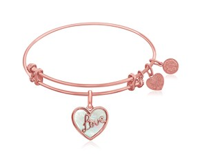 Expandable Pink Tone Brass Bangle with Love and Mother of Pearl