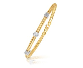 Diamond Accent Station Basket Weave Bracelet in 14k Two-Tone Gold