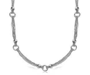 Multi Strand Bead Chain and Ring Necklace in Rhodium Plated Sterling Silver