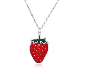 Sterling Silver 18 inch Necklace with Enameled Strawberry