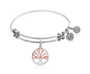 Expandable White Tone Brass Bangle with Pink and White Tone Tree of Life Symbol