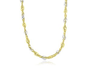Multi-Textured Interlaced Link Necklace in 14k Two-Tone Gold