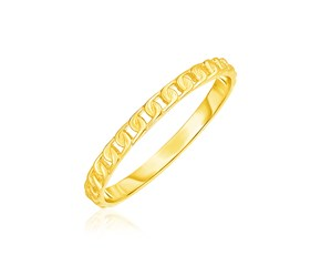 14k Yellow Gold Ring with Bead Texture