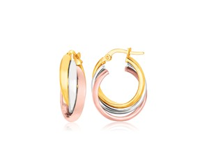 Intertwined Domed Tube Earrings in 14k Tri-Color Gold