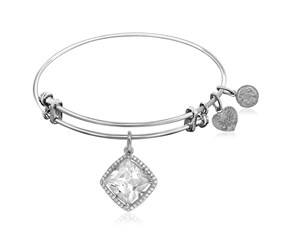 Expandable White Tone Brass Bangle with Diamond Shaped Cubic Zirconia
