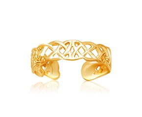 Celtic Knot Motif Toe Ring in 14K Yellow Gold