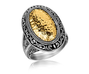 Oval Hammered Vintage Style Ring in 18K Yellow Gold and Sterling Silver