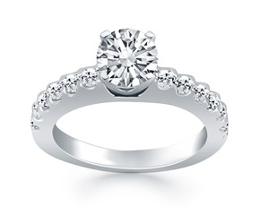 Diamond Micro Prong Cathedral Engagement Ring Mounting in 14k White Gold