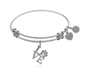 Expandable White Tone Brass Bangle with Love and Paw Print Symbol