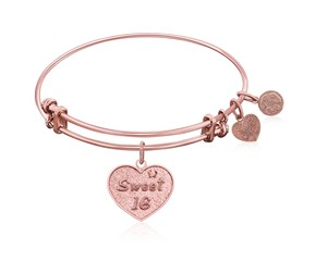 Expandable Pink Tone Brass Bangle with Sweet 16 Symbol