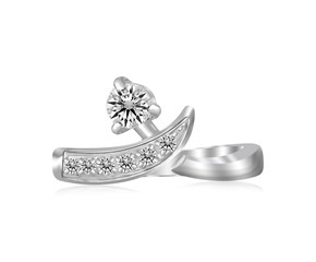 White Cubic Zirconia Accented Crossover Style Open Toe Ring in Rhodium Finished Sterling Silver