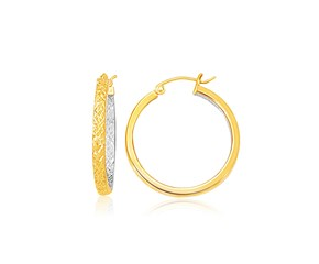 Slender Petite Patterned Hoop Earring in Two-Tone Gold