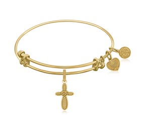 Expandable Yellow Tone Brass Bangle with Cross with Heart Symbol