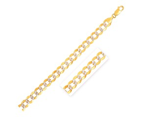 Pave Curb Bracelet in 14k Two Tone Gold (12.18 mm)