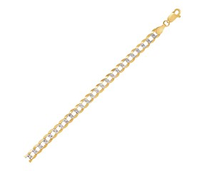 Pave Curb Chain in 14k Two Tone Gold (5.7 mm)