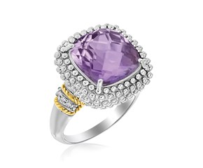 Cushion Amethyst and Diamond Accented Popcorn Ring in 18K Yellow Gold and Sterling Silver (.05ct tw)
