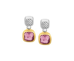 Cushion Amethyst Drop Earrings in 18K Yellow Gold and Sterling Silver