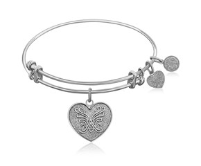Expandable White Tone Brass Bangle with Heart Symbol